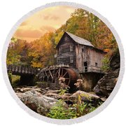 Glade Creek Grist Mill Round Beach Towel