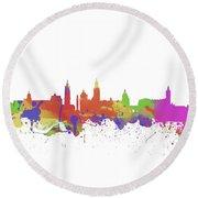 Glasgow Watercolor  Skyline  Round Beach Towel