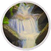 Glen Iris Waterfall Round Beach Towel