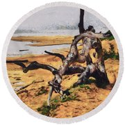 Gnarly Tree Round Beach Towel by Barbara Snyder