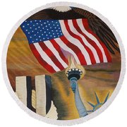 God Bless America Hand Embroidery Round Beach Towel