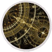 Golden Abstract Circle Fractal Round Beach Towel