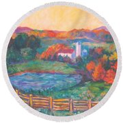 Golden Farm Scene Round Beach Towel