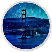 Golden Gate Bridge Night Round Beach Towel
