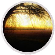 Golden Morning Round Beach Towel