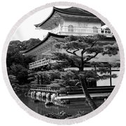 Golden Pagoda In Kyoto Japan Round Beach Towel by David Smith