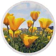 Golden Poppies Impasto Round Beach Towel