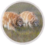 Golden Retriever Dogs On The Hunt Round Beach Towel