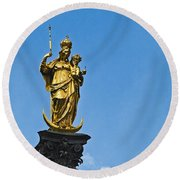 Golden Statue Of The Virgin Mary In Munich Germany Round Beach Towel