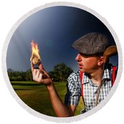Golf Ball Flames Round Beach Towel
