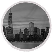 Good Morning New York City Round Beach Towel
