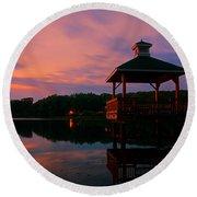 Gorton Pond Sunset Warwick Rhode Island Round Beach Towel