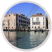 Grand Canal Venice Round Beach Towel