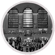 Grand Central Station Bw Round Beach Towel