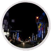 Granville Street At Night Vancouver Round Beach Towel