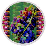 Grapes Fruit Pattern Health Background Designs  And Color Tones N Color Shades Available For Downloa Round Beach Towel