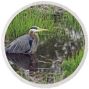 Great Blue Heron At Deboville Slough 2 Round Beach Towel