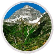 Great Glacier Trail In Glacier Np-british Columbia Round Beach Towel