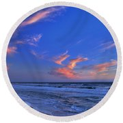 Great Highway Sunset Round Beach Towel