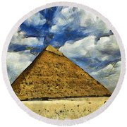 Great Pyramid Of Egypt Round Beach Towel