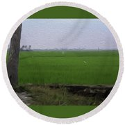 Green Fields With Birds In Kerala Round Beach Towel
