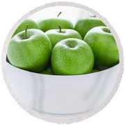 Green Granny Smith Apples Round Beach Towel