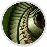 Green Spiral Staircase Round Beach Towel