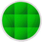 Green Squares Texture Background Round Beach Towel by Valentino Visentini