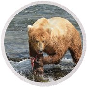 Grizzly Bear Salmon Fishing Round Beach Towel