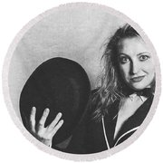 Grunge Photo Of Female Cabaret Performer Round Beach Towel