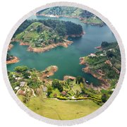 Guatape Lake Round Beach Towel