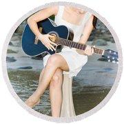 Guitar Woman Round Beach Towel