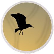 Gull Silhouette Round Beach Towel