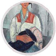 Gypsy Woman With Baby Round Beach Towel by Amedeo Modigliani