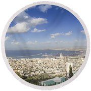 Haifa Bay Panorama Round Beach Towel