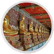Hall Of Buddhas At Wat Suthat In Bangkok-thailand Round Beach Towel