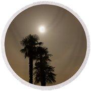 Halo With Moon Light Round Beach Towel