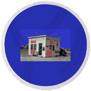 Hamburger Stand Coca-cola Signs Russell Lee Photo Farm Security Administration Dumas Texas 1939-2014 Round Beach Towel
