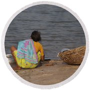Hampi River Scenes Round Beach Towel