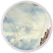 Hands In Sky Round Beach Towel