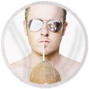 Handsome Summer Man Drinking Coconut Cocktail Round Beach Towel