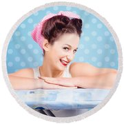 Happy 60s Pinup Housewife On Blue Ironing Board Round Beach Towel