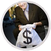 Happy Business Man Smiling With Money Bag Round Beach Towel