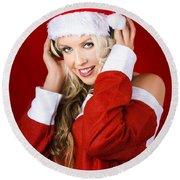 Happy Dj Christmas Girl Listening To Xmas Music Round Beach Towel