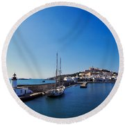 Harbor In Ibiza Town Round Beach Towel