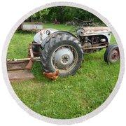 Hard Days Work Farm Tractor Round Beach Towel