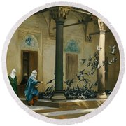 Harem Women Feeding Pigeons In A Courtyard Round Beach Towel by Jean Leon Gerome