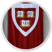 Harvard Veritas Banner Round Beach Towel