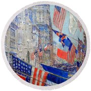 Hassam's Allies Day May 1917 -- The Avenue Of The Allies Round Beach Towel