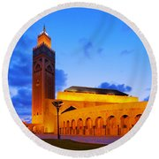 Hassan II Mosque In Casablanca Round Beach Towel